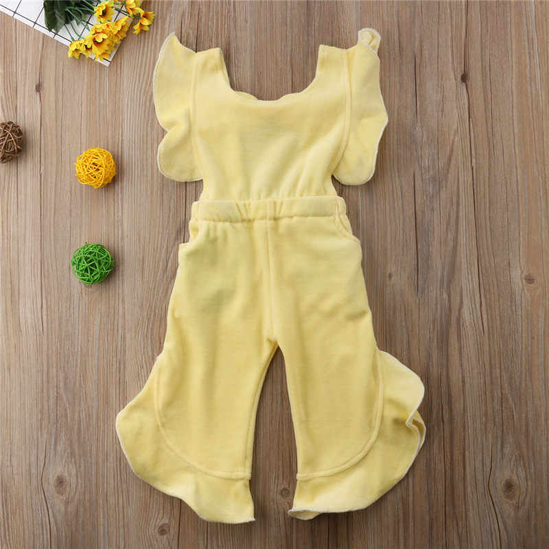 ff957bc0175 ... Toddler Kids Baby Girl Clothes Korean Velvet Ruffles Romper Jumpsuit  Sunsuit Outfit Autumn Wine Red Yellow ...