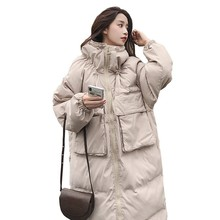 Thick Warm Long Winter Jacket Women Fashion Large Fur Collar Plus Size Parka Over The Knee Down Cotton Jacket Loose Coat Ls146 hcbless womens parka cotton coat long section over the knee thick warm slim slim down cotton women s large size winter coat