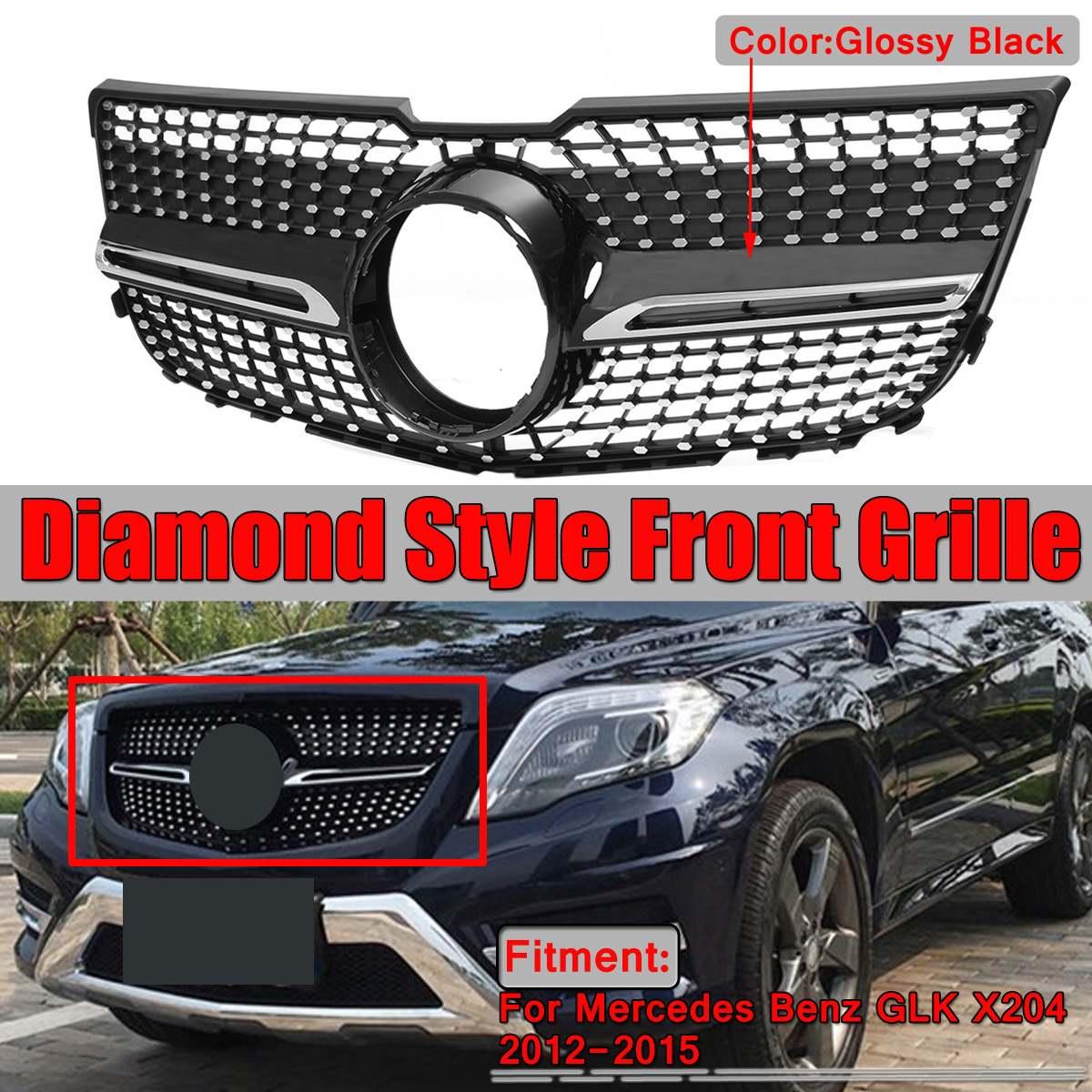 Preto/Chrome X204 Diamante Grade Dianteira Do Carro Amortecedor Dianteiro Grill Grille Para Mercedes Benz GLK X204 GLK250 GLK300 GLK350 2012-2015