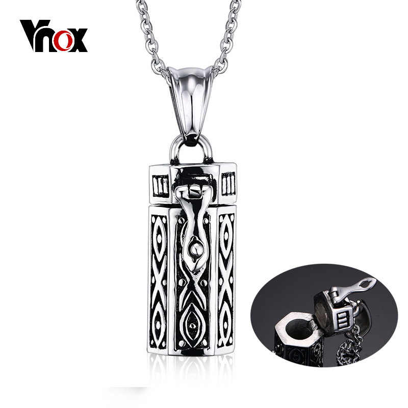 Vnox Memorial Cremation Urn Ashes Holder Pendant For Women Men Necklace Stainless Steel Unisex Stylish Openable Jewelry