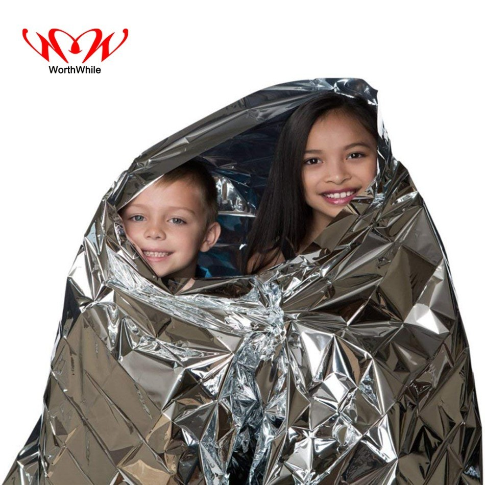 WorthWhile Survival Emergency Blanket First Aid Sliver Rescue Curtain Outdoor Camping Hiking Waterproof Sunproof Foil Thermal