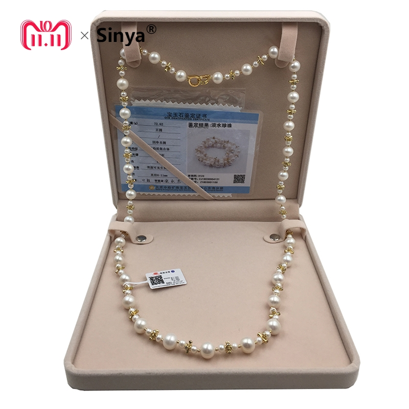 Sinya Pearl Sweater chain necklace Round Natural pearls strands long necklace for Women Girl Mum lover length 85cm dia 10-11mm free shipping imitation pearls chain flatback resin material half pearls chain many styles to choose one roll per lot