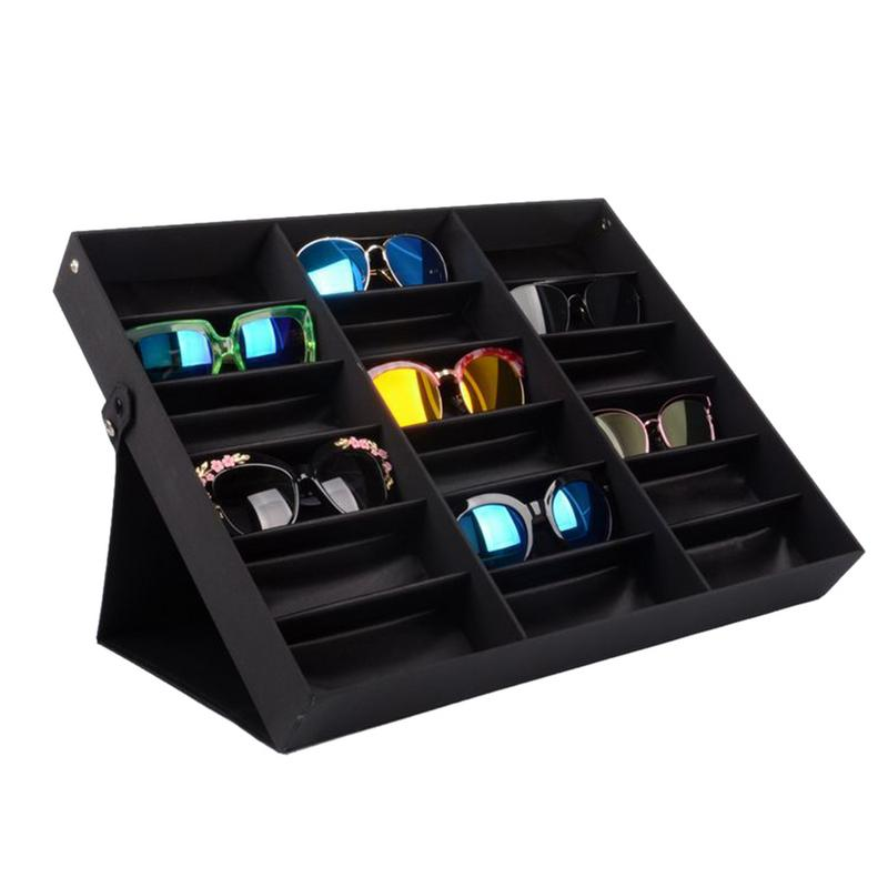 Sunglasses Display Stand 18 Compartment Black Glasses Storage Box organizer Sunglasses Display Stand #SWSunglasses Display Stand 18 Compartment Black Glasses Storage Box organizer Sunglasses Display Stand #SW