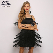 Parthea Elegant Summer Dress 2 Piece Party Women Off Shoulder Tassel Embellished Fringe Backless Sexy Robe Vestidos
