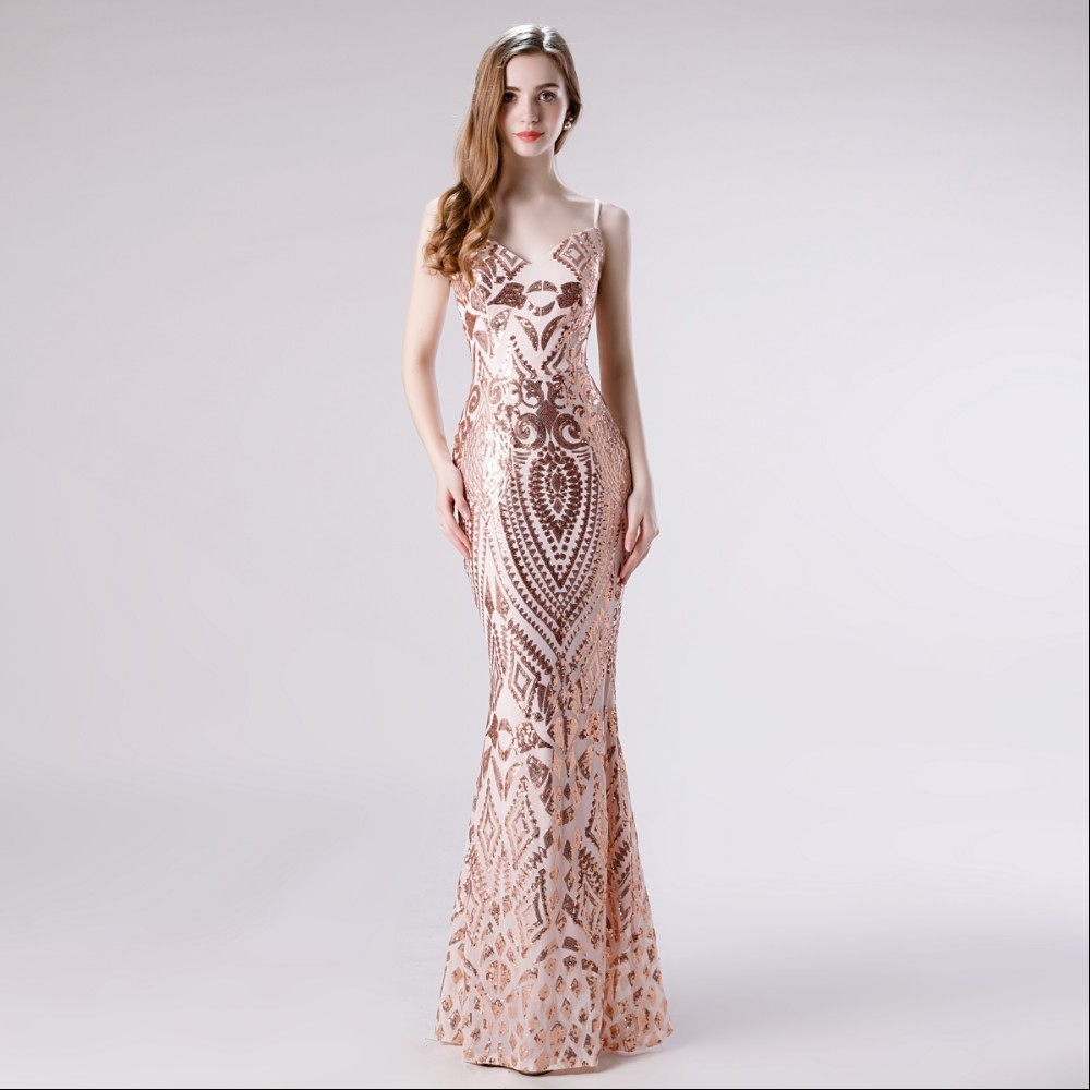 Vivian 39 s Bridal Fashion Sequin Pattern Prom Dress Sexy Spaghetti Strap Deep V neck Backless Mermaid Sequin Dress Formal Gown in Prom Dresses from Weddings amp Events
