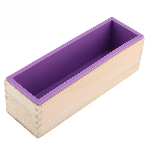 Molde de jabón de silicona de 1200 ML caja de madera Rectangular con forro Flexible para molde de jabón hecho a mano de bricolaje
