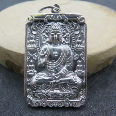 New 925 Sterling Silver Carved Buddha Blessing Pendant 55mm (2.16New 925 Sterling Silver Carved Buddha Blessing Pendant 55mm (2.16