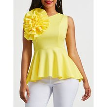 купить Summer Blouse Women Sunflower Design Party Ruffle Hem Elegant Slim Fashion Street Yellow Ladies Tops Casual Sexy Blouses по цене 1215.68 рублей