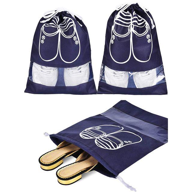 12 peças 2 Tamanhos Sapatos Saco Sapato Saco Organizador De Armazenamento Dust-proof Sacos para Sapatos com Cordão para As Mulheres e homens