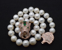 big size freshwater pearl white near round 11 14mm +leopard clasp necklace 18inch FPPJ wholesale beads nature