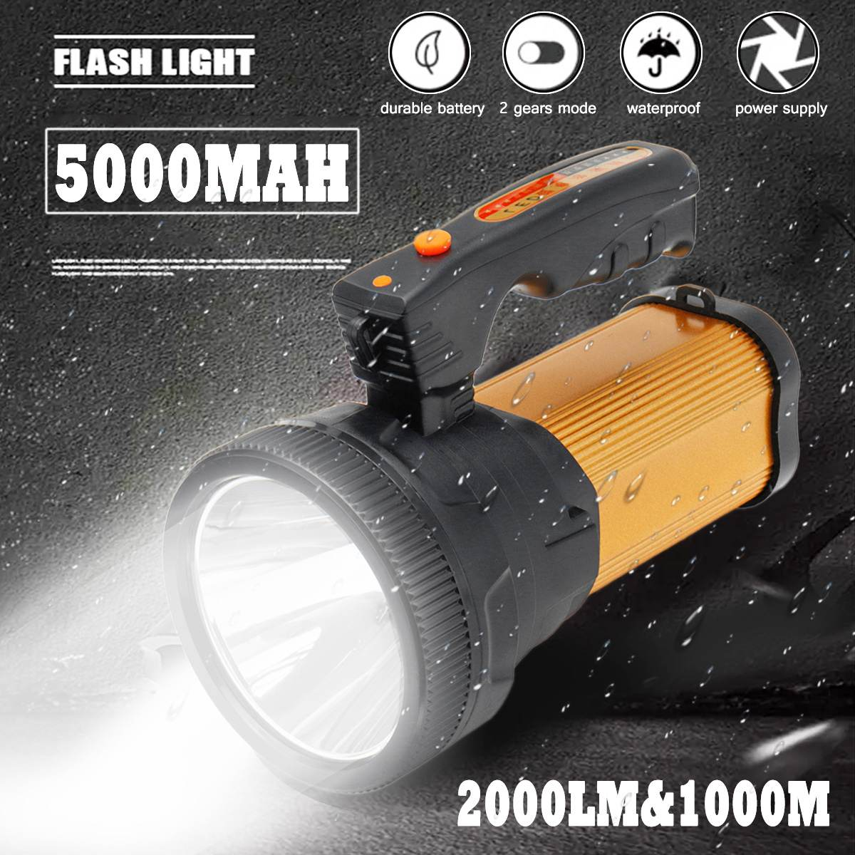 5000MAh 2000lm Rechargeable LED Lights Handheld Portable Spotlight Flashlight Searchlight Lantern For Outdoor Camping Travel