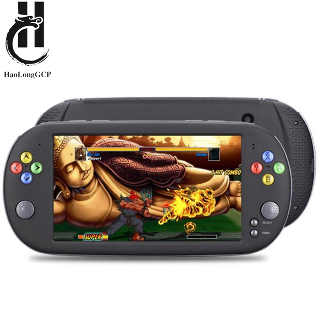 HaoLongGCP neogeo 8/16/32 비트 게임용 ps1 용 핸드 헬드 7 인치 레트로 비디오 게임 콘솔 1500 무료 게임으로 8GB TV 출력 지원