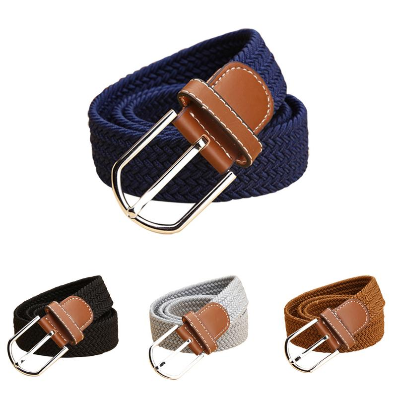 Fashion Leisure Men And Women Belt Canvas Knitted Pin Buckle Belt Solid Adult Elastic Waistband Multi-color Optional