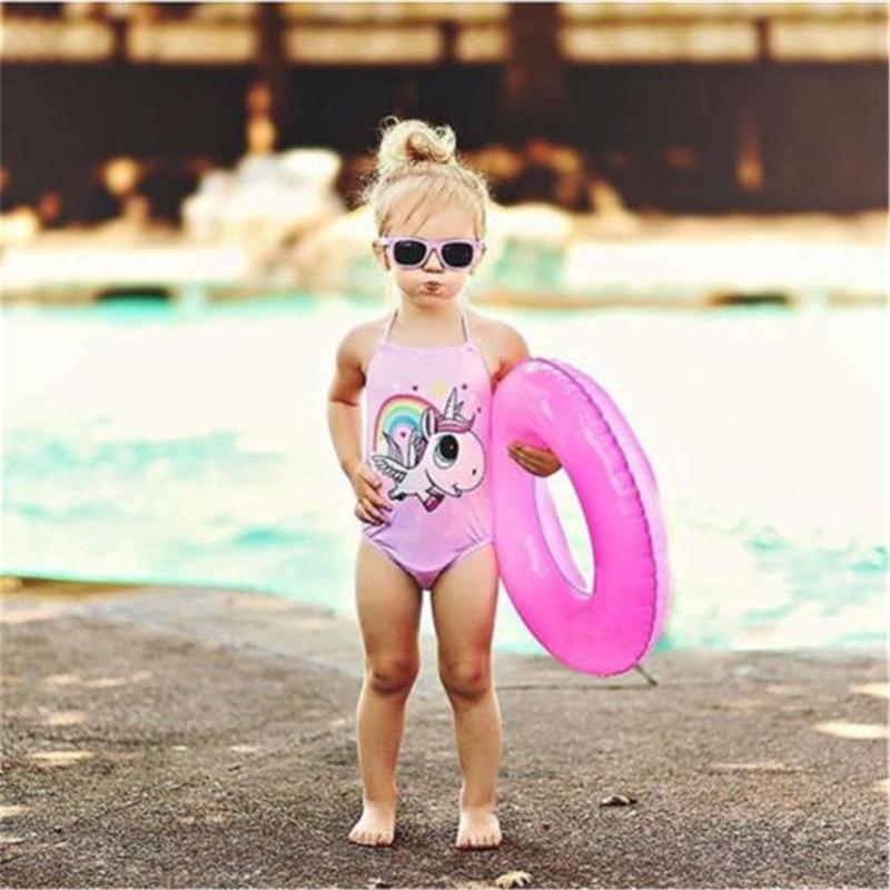 Bebê Recém-nascido PUDCOCO Unicórnio Menina Swimwear Swimsuit Maiô Beachwear
