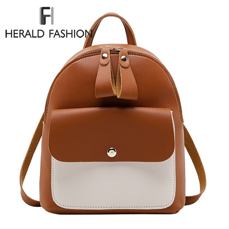 Hearld Fashion Women Backpack Female Quality Soft Leather Mini Backpacks Students Shoulder Schoolbags Ladies Small Travel BagsHearld Fashion Women Backpack Female Quality Soft Leather Mini Backpacks Students Shoulder Schoolbags Ladies Small Travel Bags