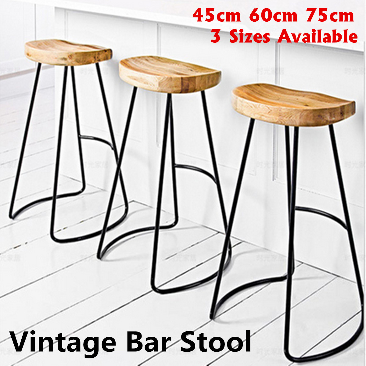 Vintage Industrial Bar Stool Retro Counter Seat Retro Pub Kitchen Metal Wood Chair Outdoor Bar Furniture Decoration 45/60/75cm