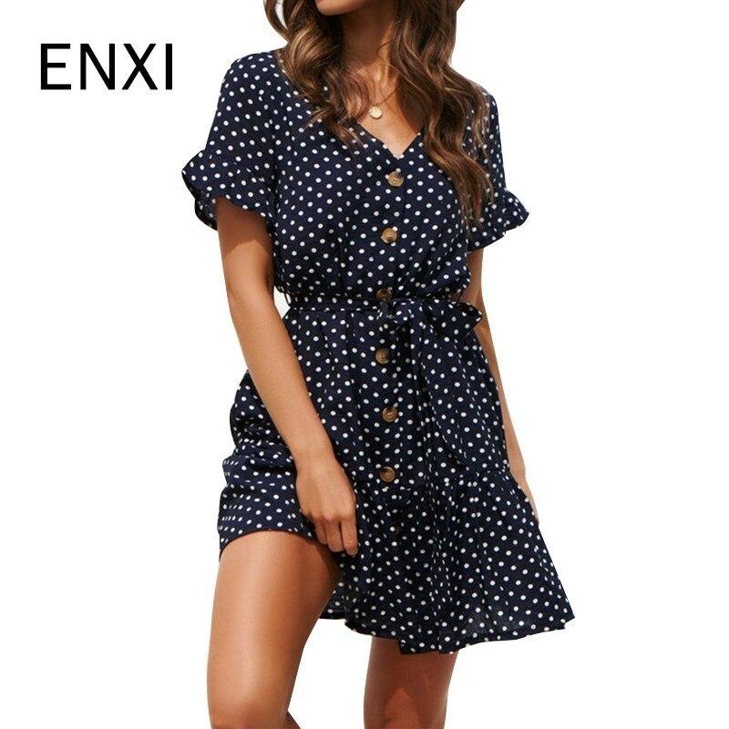 ENXI Chiffon Dot Maternity Dress Summer Wear 2019 New Fashion Premama Dresses For Pregnant Women Pregnancy Clothing