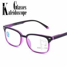 Mulheres Homens Óculos De Leitura Multifocal Progressiva Anti Luz Azul  Óculos Senhoras Prescrição Optical Presbiopia Dioptria f7f506a899