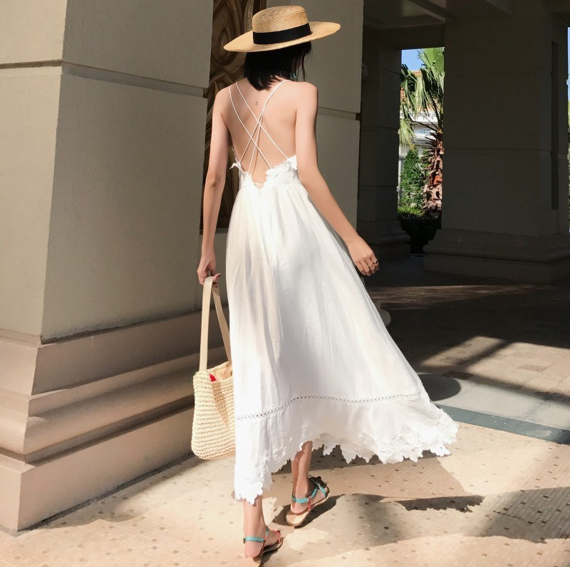 2019 Summer Women White V Neck <font><b>Backless</b></font> Beach <font><b>Dress</b></font> Spaghetti Straps Holiday <font><b>Dress</b></font> <font><b>Sexy</b></font> <font><b>Lace</b></font> <font><b>Hollow</b></font> Out Maxi <font><b>Dress</b></font> image
