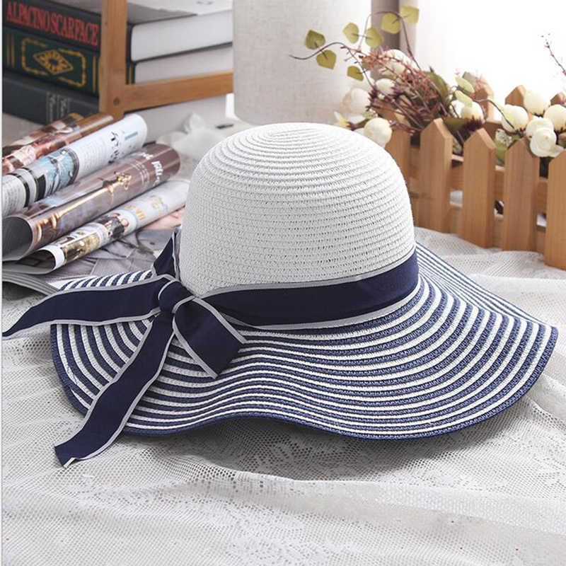 3c8083a17 2019 Hot Sale Fashion Hepburn Wind Black White Striped Bowknot Summer Sun  Hat Beautiful Women Straw Beach Hat Large Brimmed Hat
