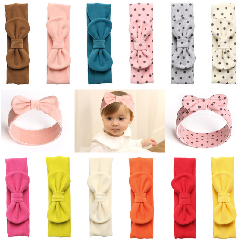 Rabbit Ear 1pc Children Kids Casual Hairband Girls Bowknot Cute Headwear Head Wraps Turban Headband Candy Color Hot Sale