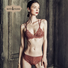 цена на BOTHYOUNG French Sexy lace underwear Bra set Female Thin section red No rims Beautiful Bralette set