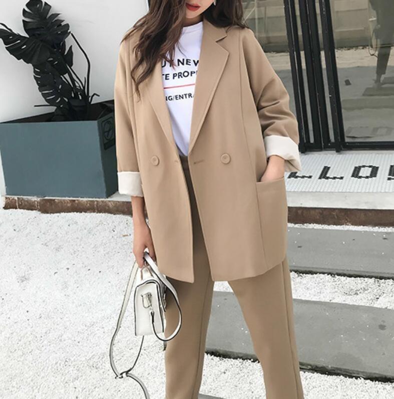 2019 Neue Frühjahr Anzug Für Frauen Khaki Blazer Lange Hose Zwei Stücke Sets Frauen Elegante Arbeits Sets Weiblichen Koreanischen Sets