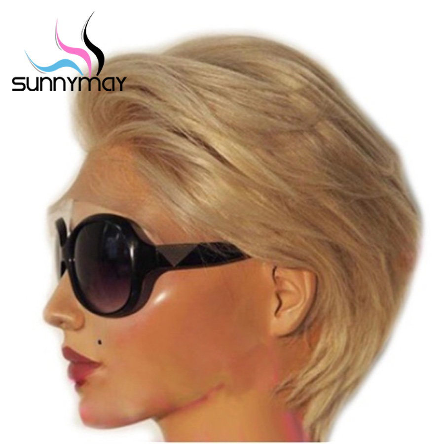 Sunnymay 13x4 Short Bob Wig Pre Plucked Blonde Lace Front Wig Glueless 130%  Human Hair Wigs Remy Lace Front Human Hair Wigs