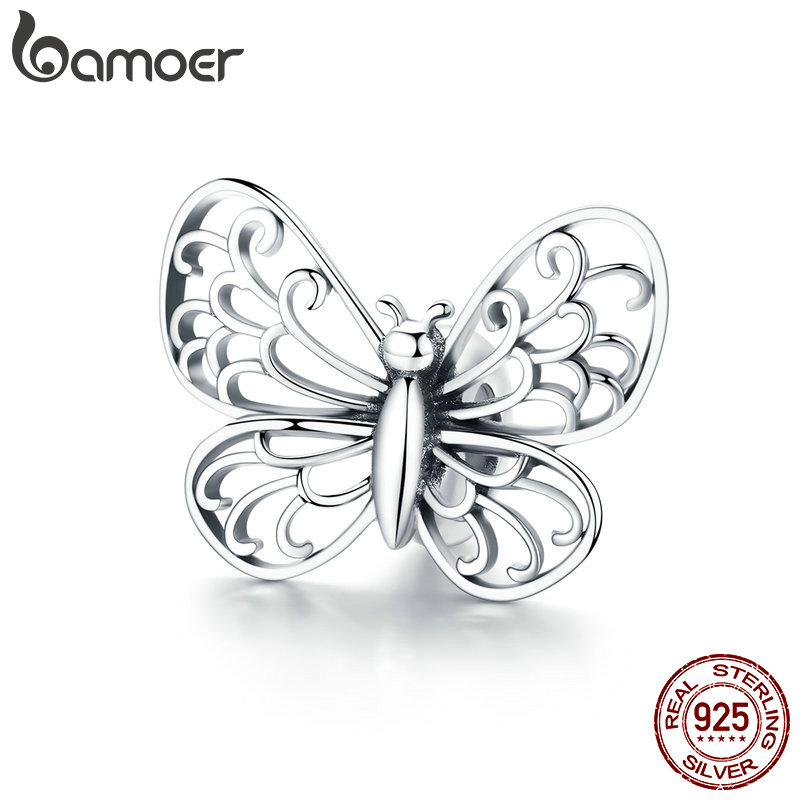 BAMOER 925 Sterling Silver Crystal Butterfly Insect Charms Beads fit Original Charm Bracelets Women Necklaces Jewelry BSC062BAMOER 925 Sterling Silver Crystal Butterfly Insect Charms Beads fit Original Charm Bracelets Women Necklaces Jewelry BSC062