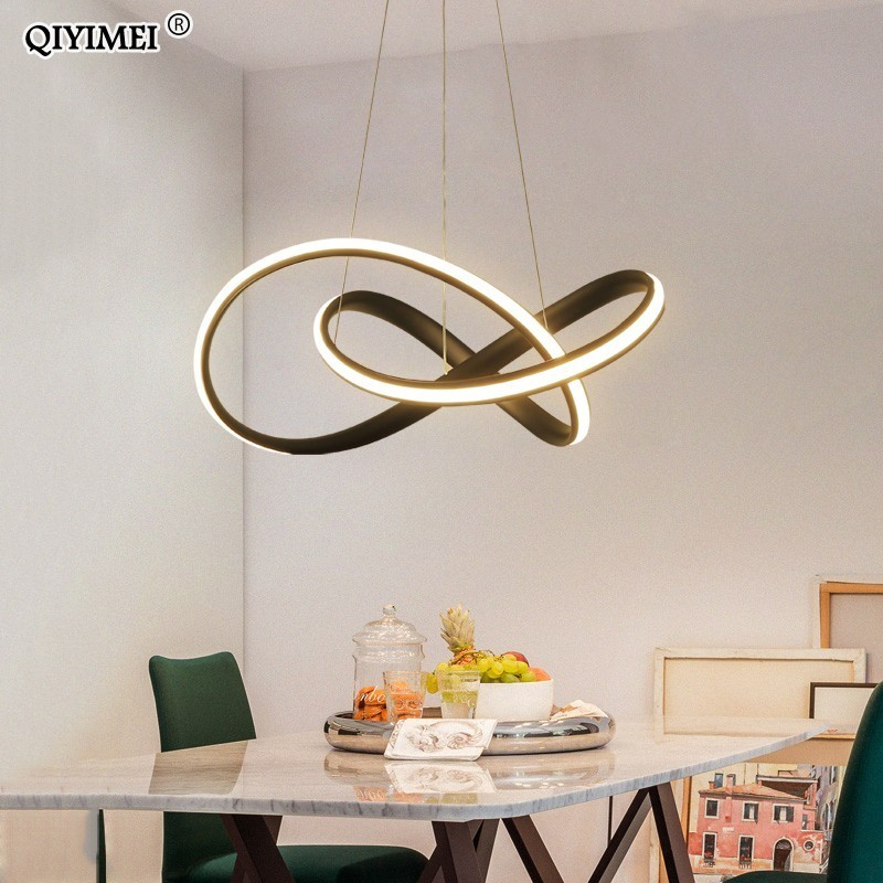 Hanging LED Pendant Lights For Shop Bar Dining Kitchen Room aluminum body remote control white black Pendant Lamps Free Shipping