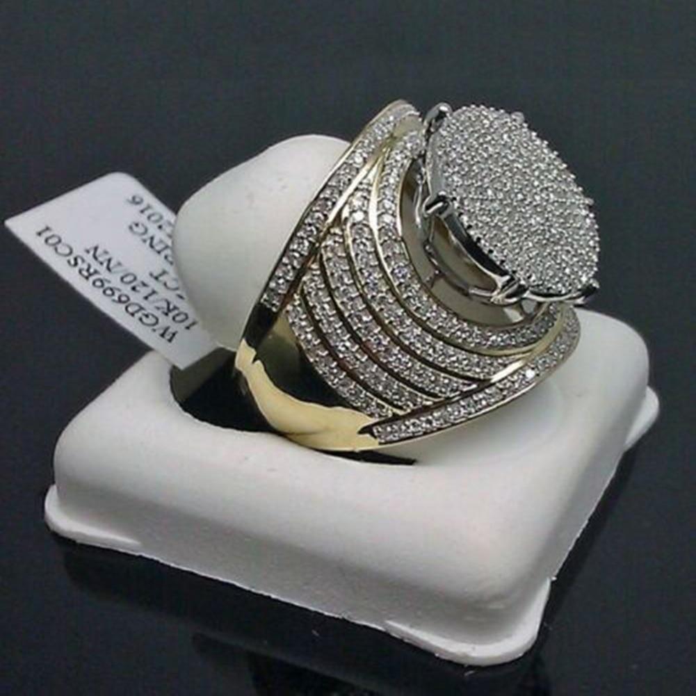 Винтажное кольцо с белым сапфиром 10K желтого золота, женские и мужские свадебные украшения