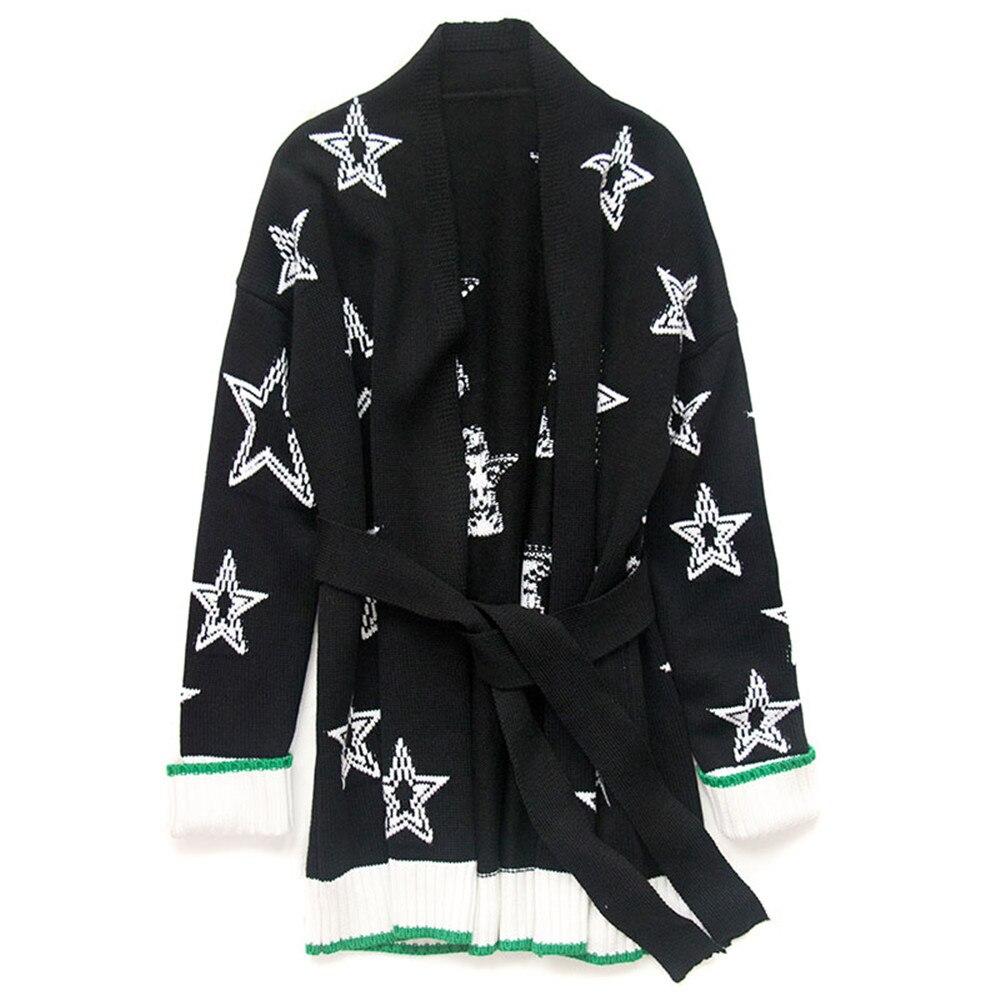 Jacquard Femmes Outwear Cardigan Manteau Rayé Lâche Chandail Nouveau En Tricot Automne Hiver Top Ceintures Pardessus Black Vintage 2019 Étoiles BxeWrdCo