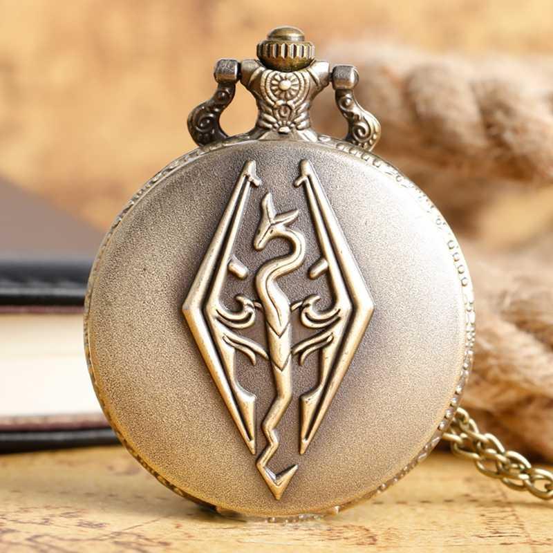 מגילות V נושא רטרו ברונזה 3D הדרקון עיצוב קוורץ שעון כיס עם שרשרת שרשרת עבור בני Skyrim תליון מתנות