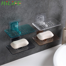 HILIFE Suction Cup Wall Dishes Soap Dish Case Soap Box Dish Storage Plate Drain Soap Box Storage Rack Plastic Holder