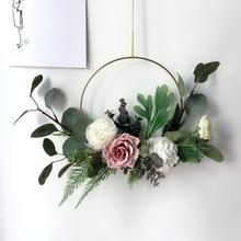 Wedding Flowers Garland Simulated Iron Ring Rose Wall Hanging Decorative Wreath Artificial