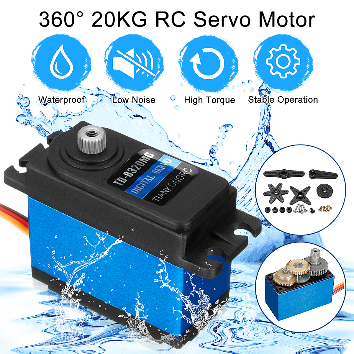 2019New Arrival Waterproof Version High Torque Metal Gear RC Servo Motor 20KG 360 Degree For RC Vehicle Car Boat Toys