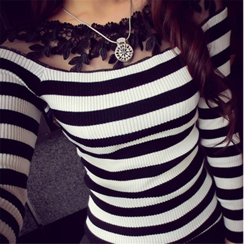 2018 Autumn Women Knitted Sweater Sexy Lace Crochet Off Shoulder Striped Shirt Casual Slim Long Sleeve Plus Size Tops Pull Femme