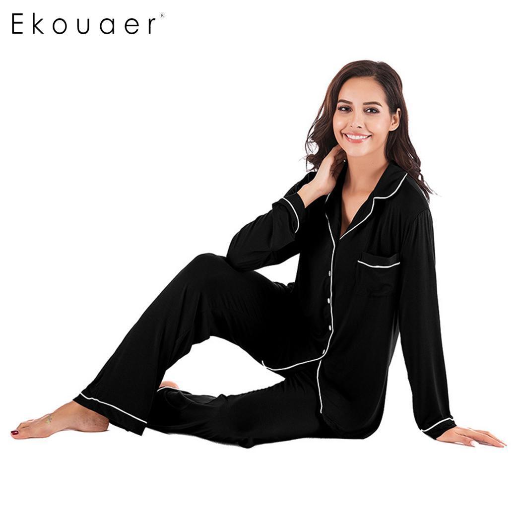 Ekouaer Women   Pajamas     Sets   Nightwear Solid Button Sleepwear Long Sleeve Shirts Long Pants 2 Piece   Pajama     Set   Spring Autumn
