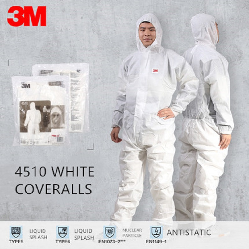 3M 4510 Safety Coveralls Chemical Disposable Protective Coverall Hooded Suit Anti Particles/Limited Liquid Chemical Splash3M 4510 Safety Coveralls Chemical Disposable Protective Coverall Hooded Suit Anti Particles/Limited Liquid Chemical Splash
