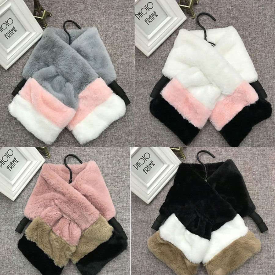 Fashion Woman Baby Girls Kid Monther And Daughter Winter Warm Wrap Faux Fur Scarves Gift Stylish Ladies Girls Patchwork Scarf
