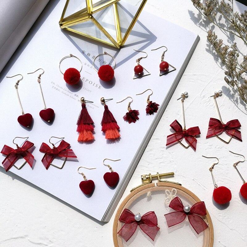 Home Honest Korean Red Pom Pom Fur Ball Drop Earrings Fashion Velvet Bow Love Heart Flower Bow Geometry Earring For Women Wedding Jewelry