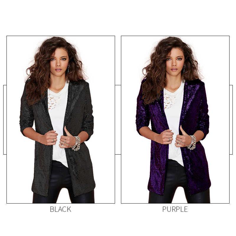 HDY Haoduoyi femmes Blazers automne Blazer poches décontracté à manches longues argent paillettes manteaux rue col rabattu Cardigan costumes