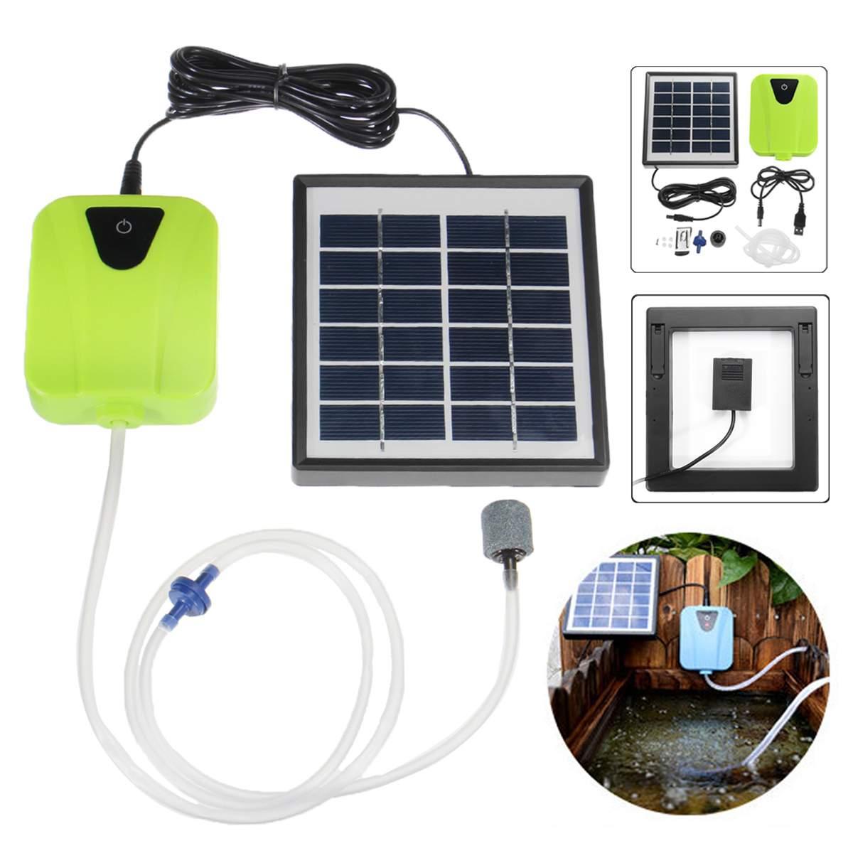 2.5W Aquarium Air Pump Solar Powered USB Charging Oxygen Aerator Oxygen Pump Fish Tank Air Flow Maker With Air Stone