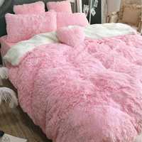 Double Soft Blanket for Bed Warm Shaggy Fluffy Throw Plush Blanket Sofa Bed Blanket Winter Warmer Lamb Blankets for Children