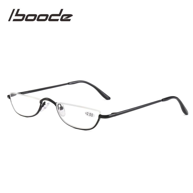Iboode Small Half Frame Metal Reading Glasses Women Ladies Elegence Reading Eyeglasses Ultralight Presbyopia Eyewear Men Unisex