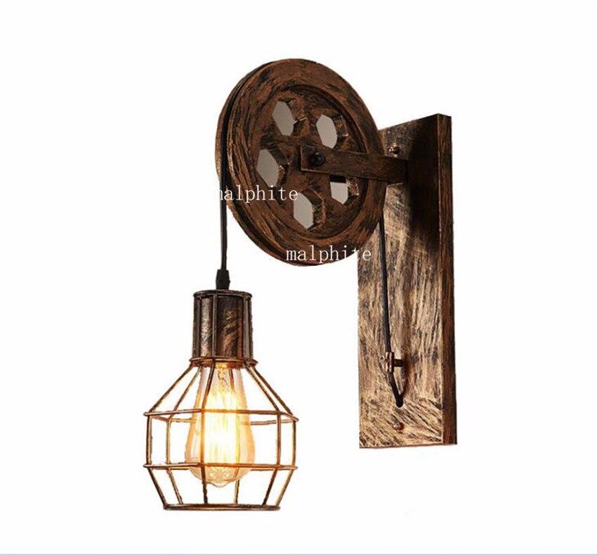 Лофт Железный светодиодный настенный светильник деко винтажный светильник ing внутренний настенный светильник s для дома Американский промышленный светильник ing подъемный шкив настенный светильник