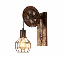 Loft Iron Led Wall Lamp Deco Vintage Lighting Indoor Wall Lights for Home American Industrial Lighting Lifting Pulley Wall Light