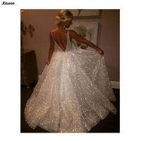 Sexy Deep V Neck Sequin Maxi Dress Elegant Women Formal Prom Party Long Dresses Ball Gown A Line Big Swing Vestidos De Fiesta