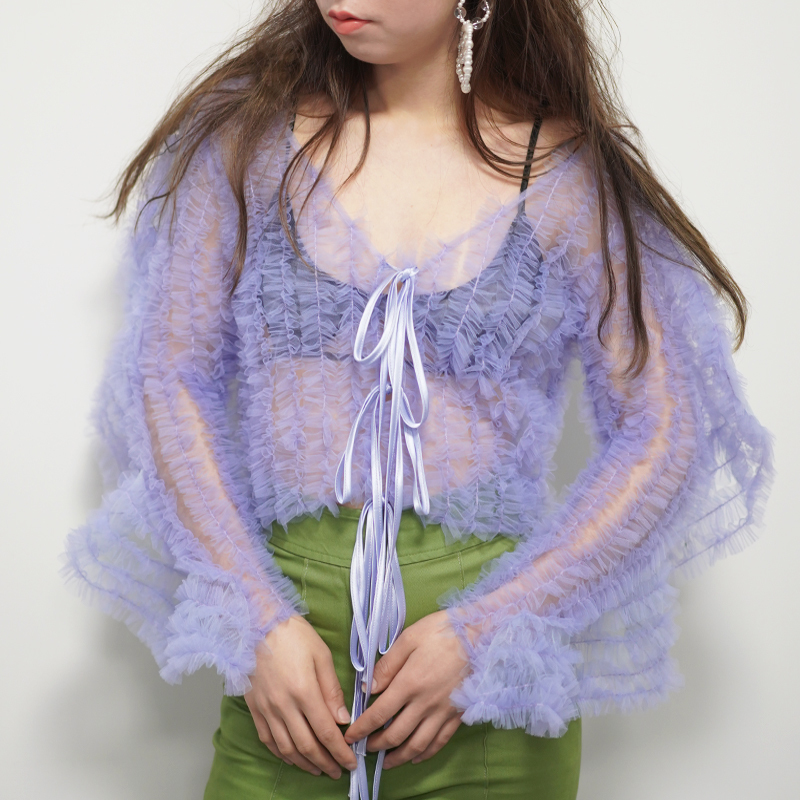 [EAM] 2019 New Autumn Winter V-collar Long Sleeve Purple Perspective Ruffles Stitch Loose T-shirt Women Fashion Tide JO177