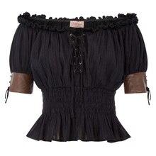 1162cf4f675eab Punk Rave Frauen Steampunk Top Lace Up Gothic VTG Viktorianischen Off  Schulter S-2XL(